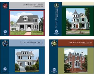 Report covers for 4 of the historic districts